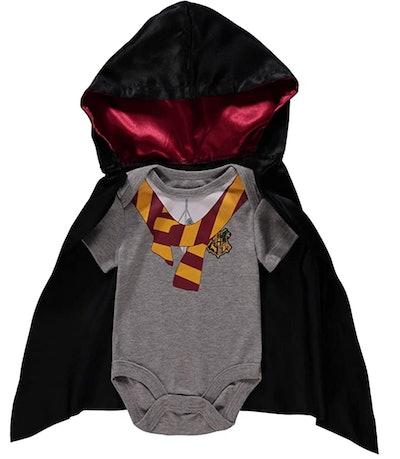 "Flat lay of baby ""Harry Potter"" Halloween Costume"
