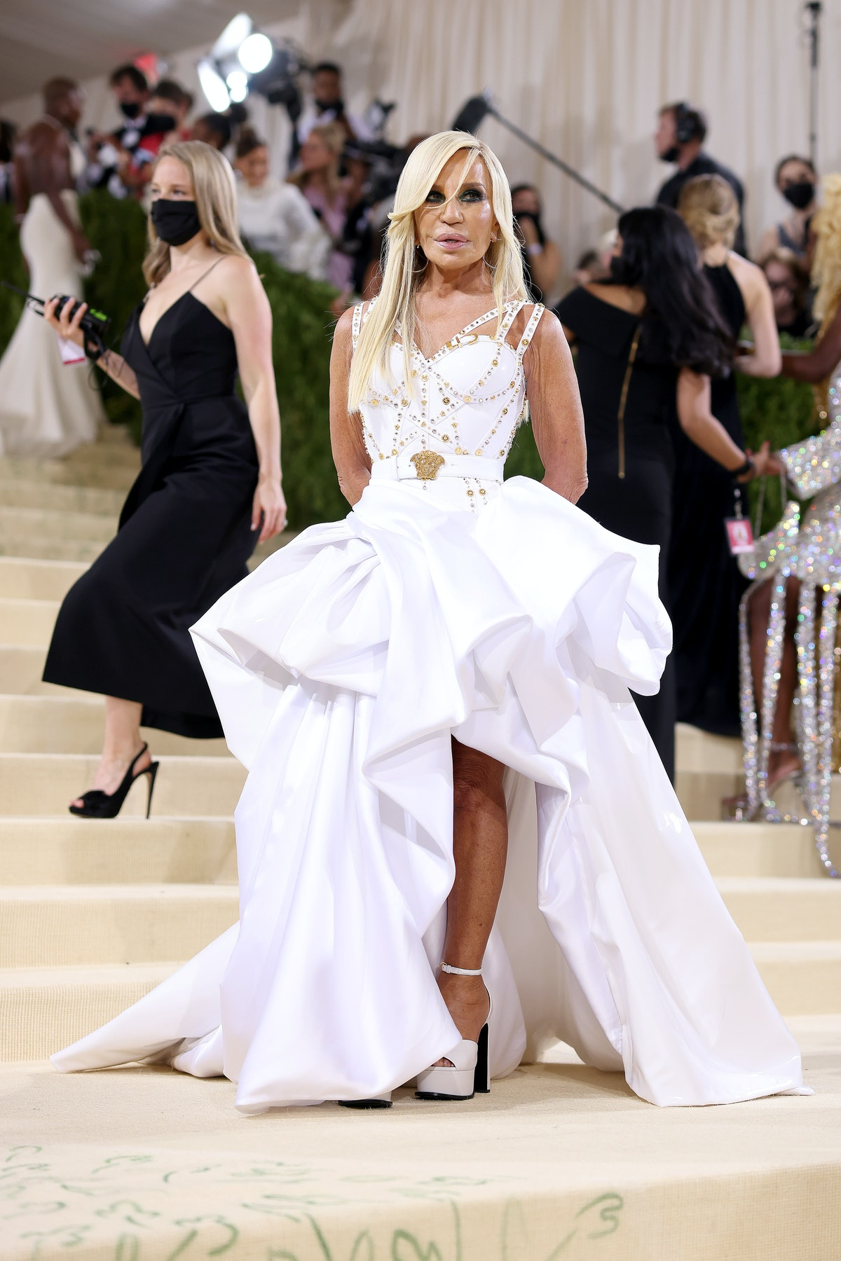 Donatella Versace attends The 2021 Met Gala Celebrating In America: A Lexicon Of Fashion at Metropol...
