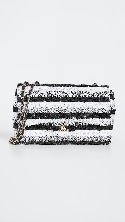 """What Goes Around Comes Around Chanel Multi Sequin Half Flap 10"""" Bag"""
