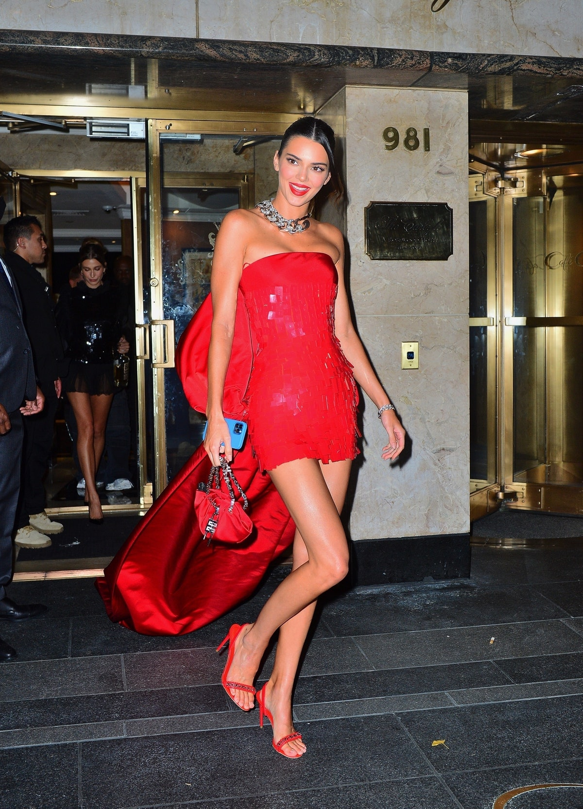Kendall Jenner heads to a Met Gala after-part on Sept. 13, 2021.