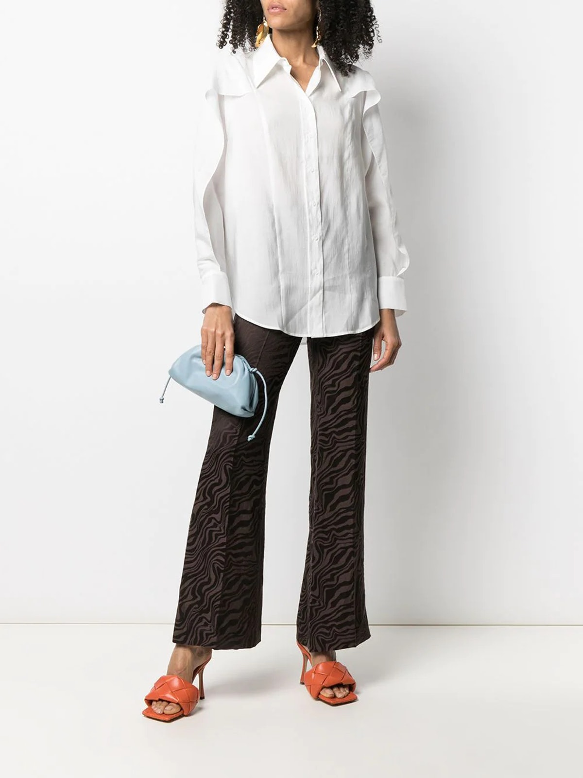 Abstract-Print Flare Trousers