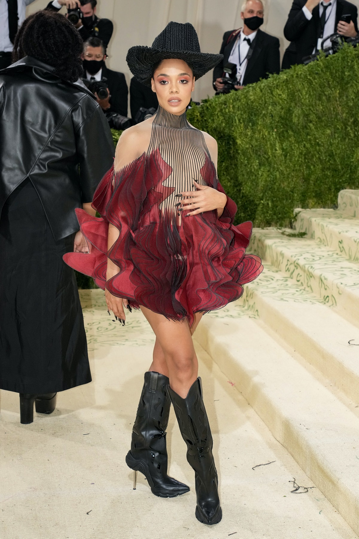 Tessa Thompson attends The 2021 Met Gala Celebrating In America: A Lexicon Of Fashion at Metropolita...
