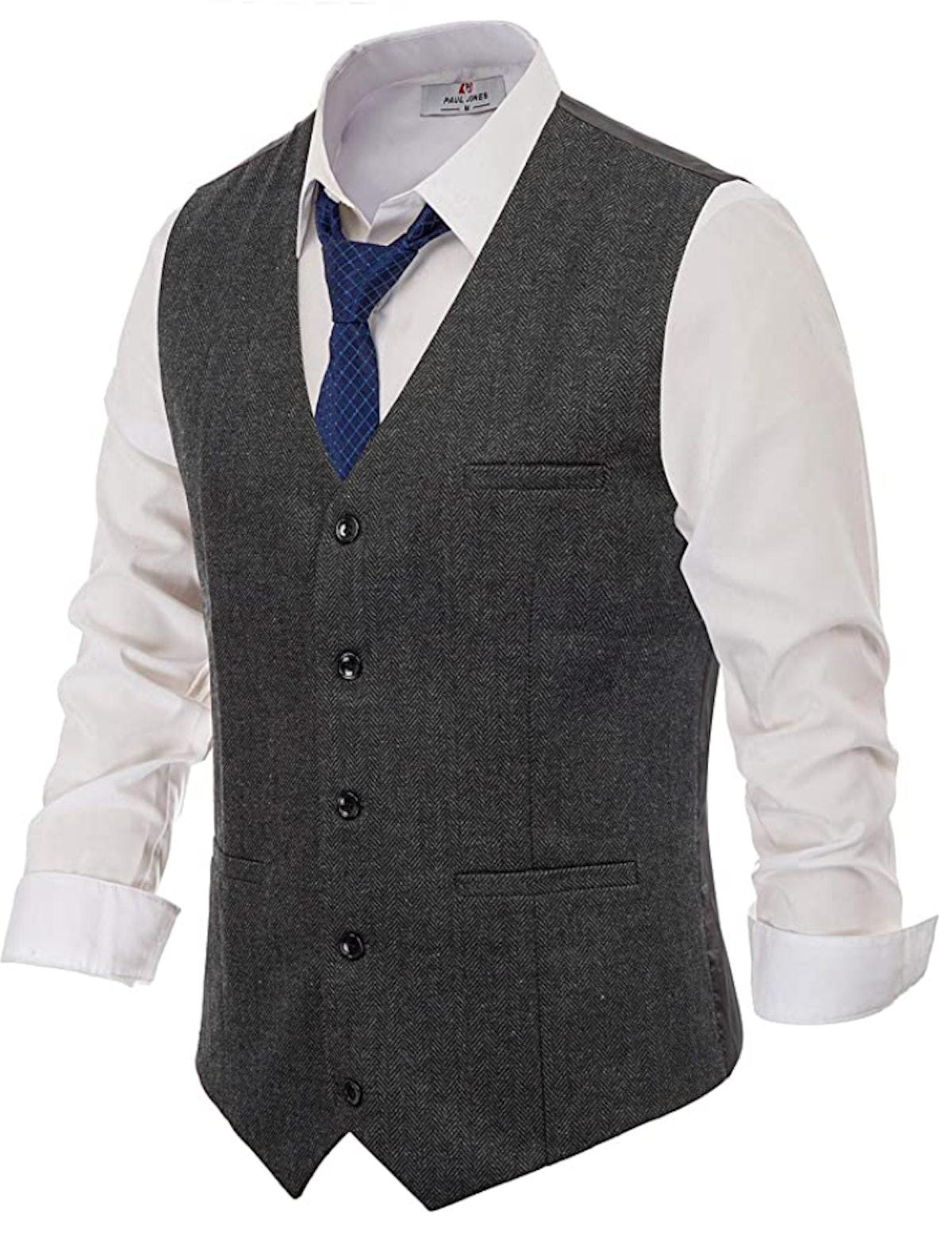 PAUL JONES Men's British Herringbone Tweed Waistcoat