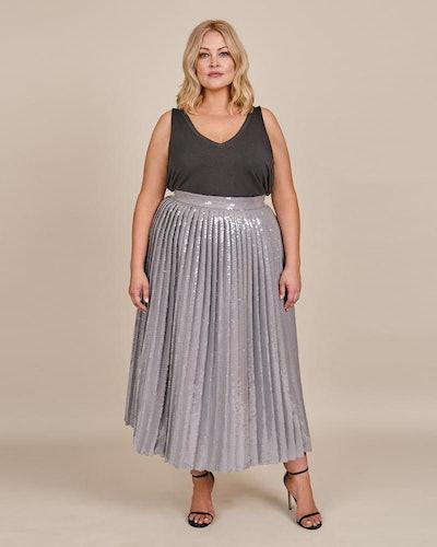 Brandon Maxwell Plus Size Pailette Pleated Skirt