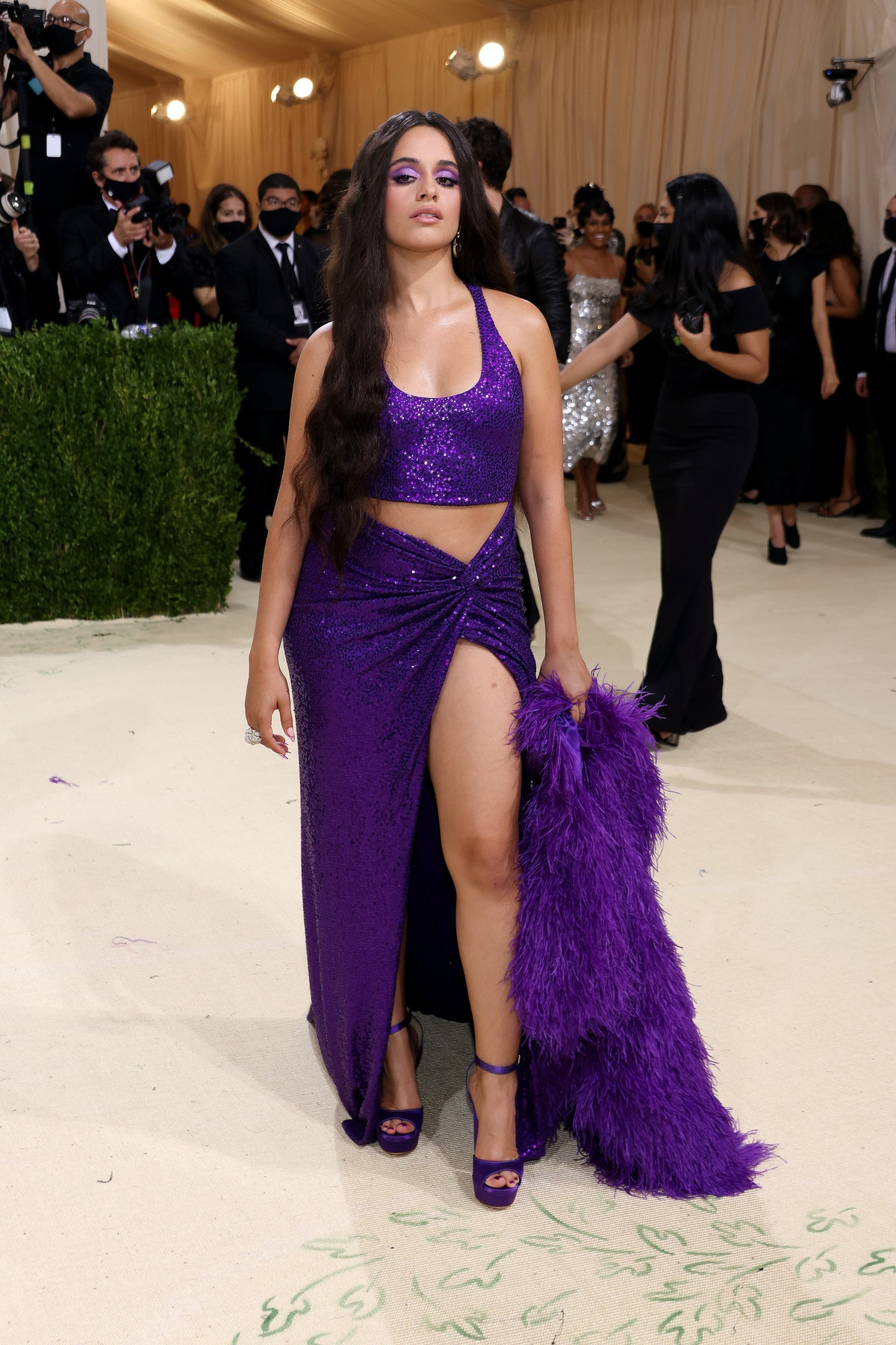 Camila Cabello and attends The 2021 Met Gala Celebrating In America: A Lexicon Of Fashion at Metropo...