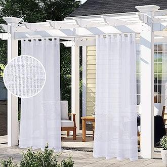 LORDTEX Burlap Linen Look Outdoor Patio Curtain (2-Pack)