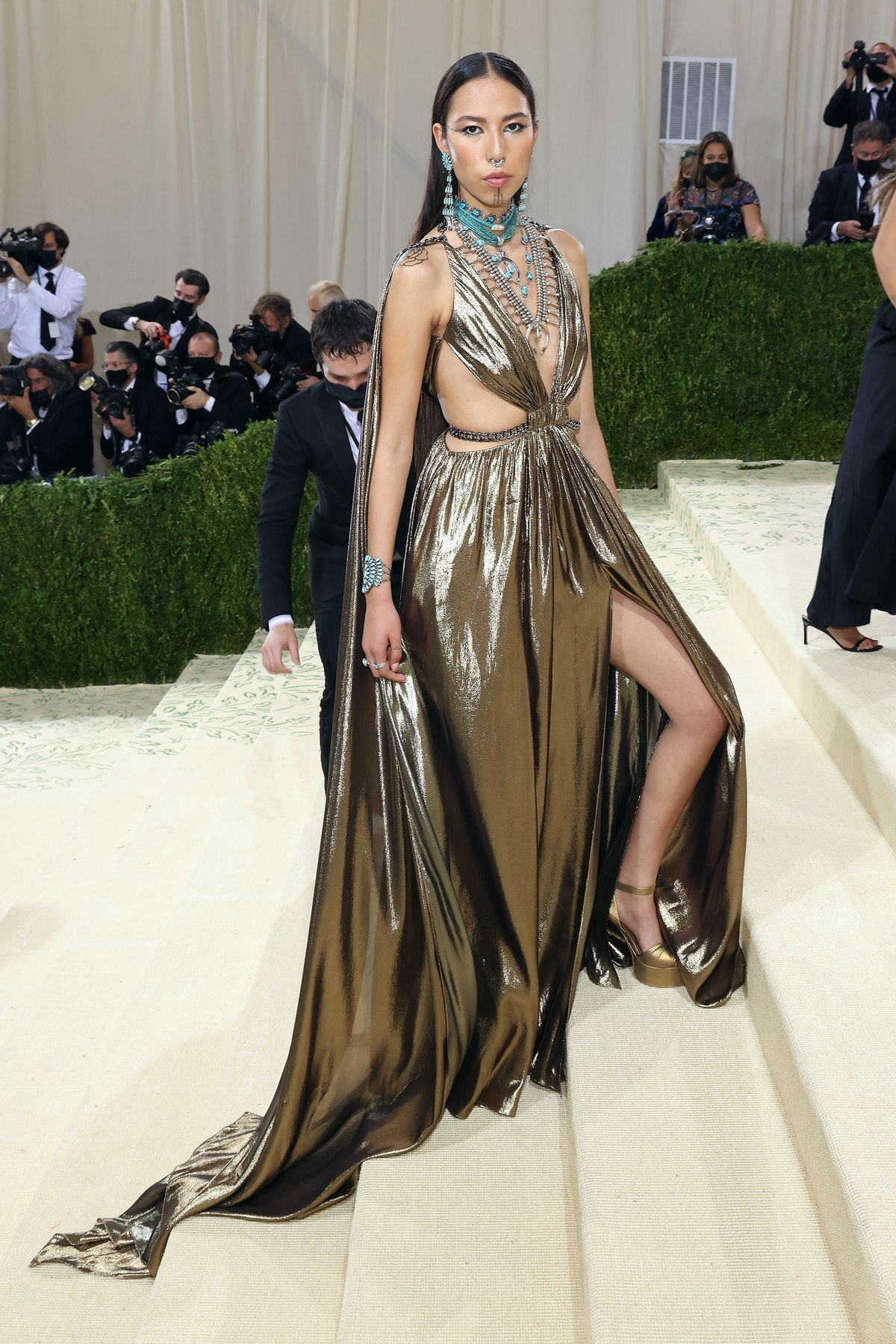 """Quannah Chasinghorse attends the 2021 Met Gala benefit """"In America: A Lexicon of Fashion"""" at Metropo..."""