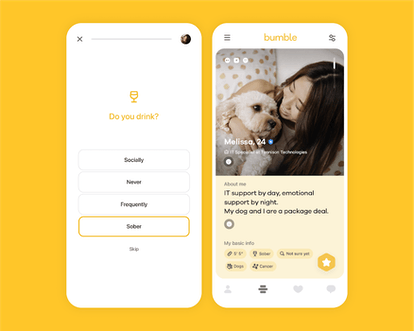 """Bumble's giving users the option to add a """"Sober"""" badge on their profiles."""