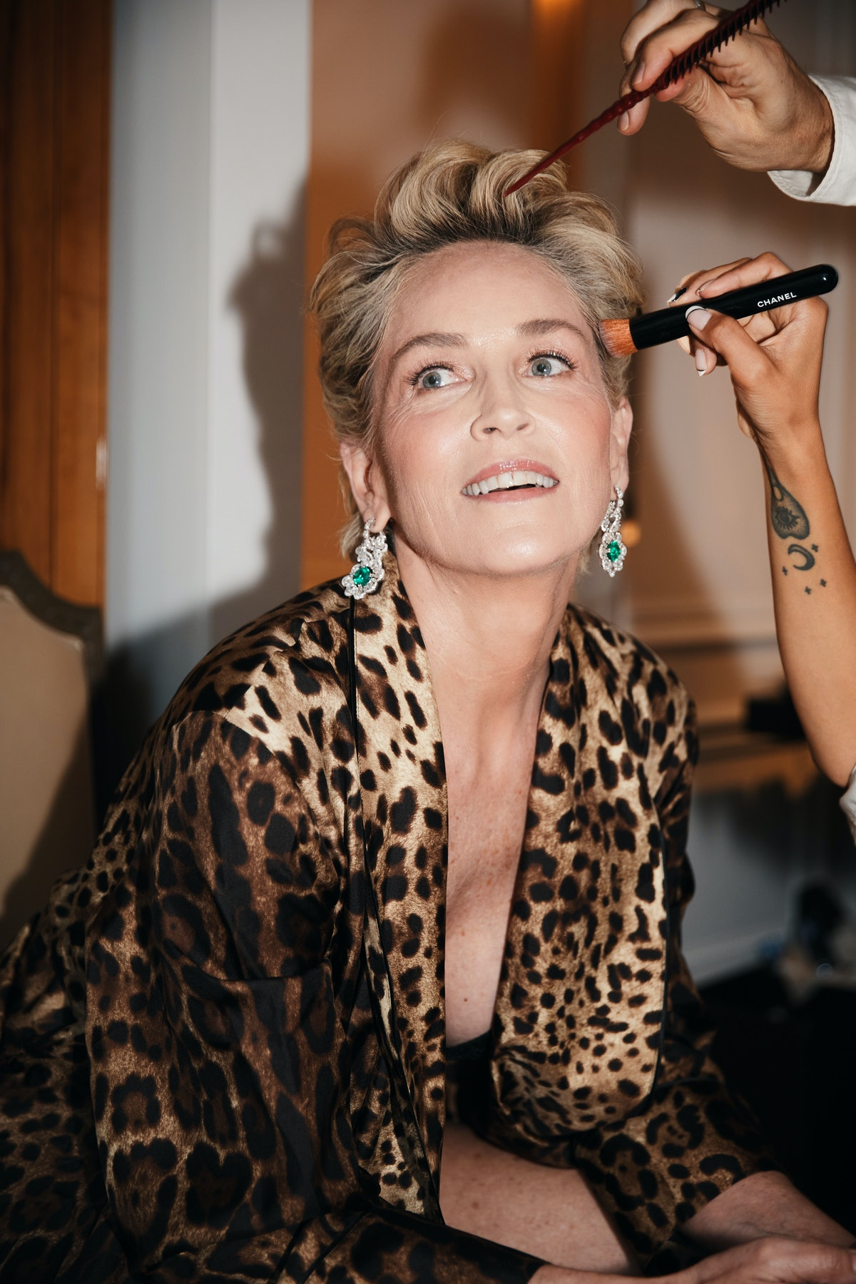 Sharon Stone prepping for the 2021 Met Gala, her first
