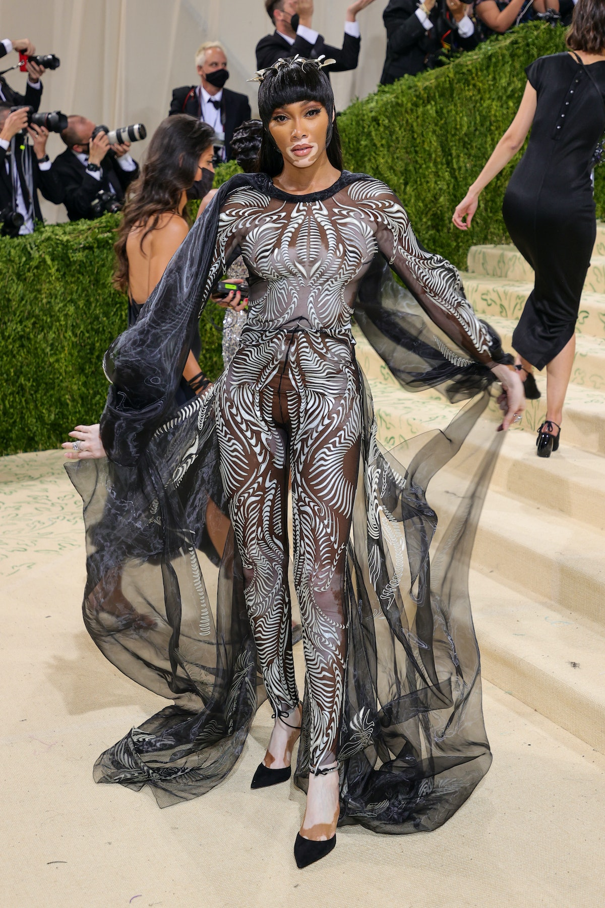 Winnie Harlow attends The 2021 Met Gala Celebrating In America: A Lexicon Of Fashion at Metropolitan...
