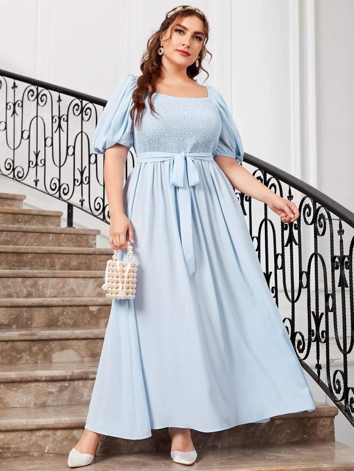 SHEIN Plus Lantern Sleeve Belted Shirred Dress