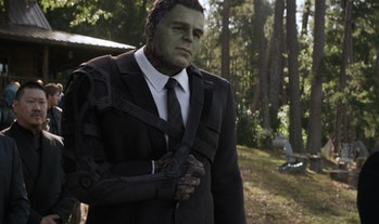 Professor Hulk wearing a sling at the end of Avengers: Endgame