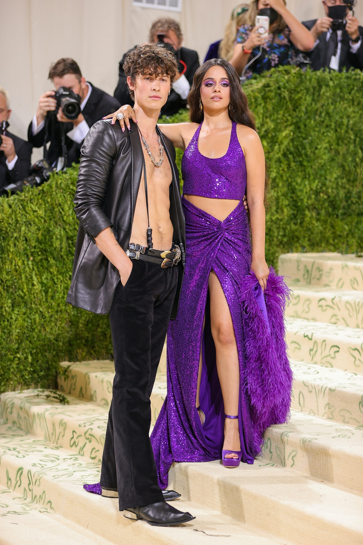 Shawn Mendes and Camilla Cabello attend The 2021 Met Gala Celebrating In America: A Lexicon Of Fashi...