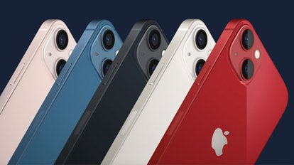 iPhone 13 colors featuring red, pink, blue, black and white.