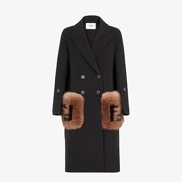 FENDI's black wool coat.