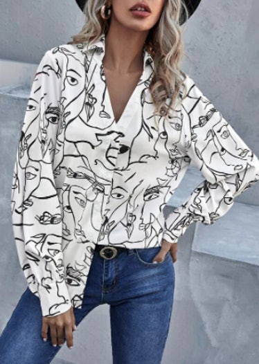 Allover Figure Graphic Button Up Blouse