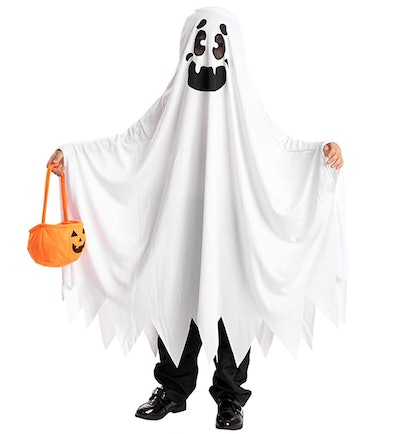 A person dressed up as a ghost