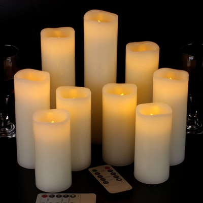 Vinkor Flameless Candles with Remote (Set of 9)