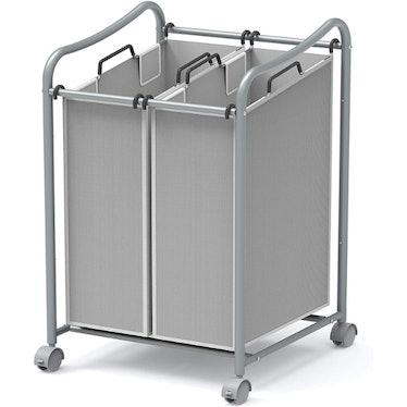 Simple Houseware 2-Bag Rolling Laundry Sorter Cart