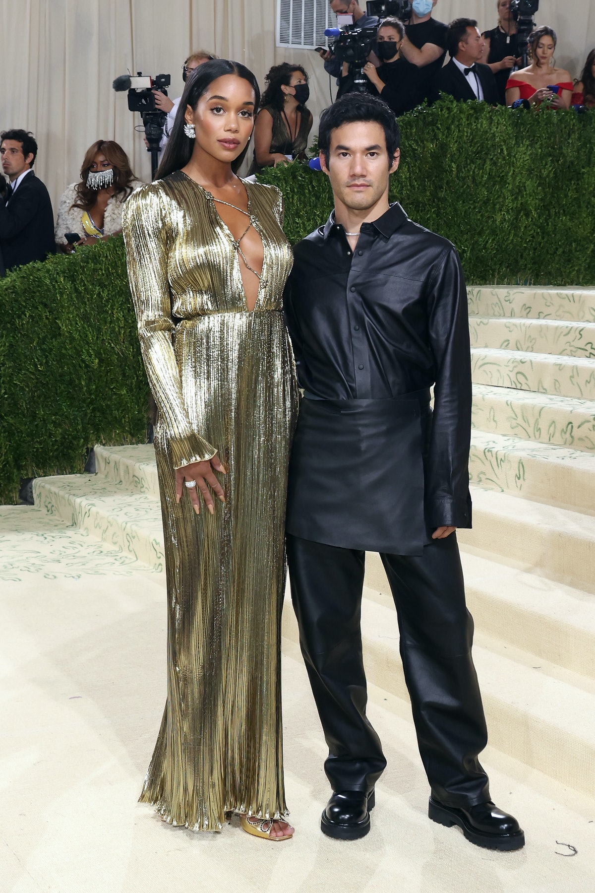 """Laura Harrier and Joseph Altuzarra attend the 2021 Met Gala benefit """"In America: A Lexicon of Fashio..."""