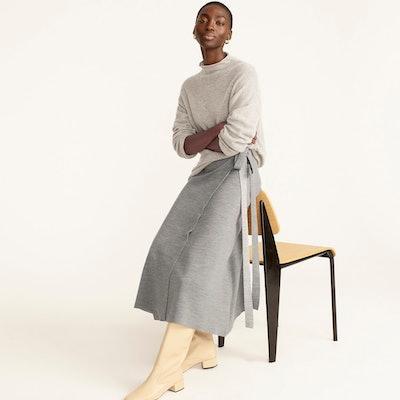 Two-Toned Merino Wool Wrap Skirt