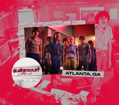 A map to 'Stranger Things' filming locations in Atlanta, Georgia.