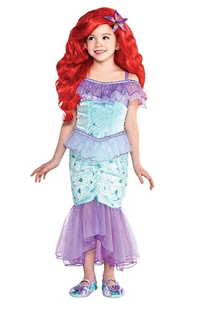 """Little girl dressed up in Ariel costume, from """"The Little Mermaid"""""""