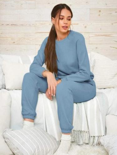 SHEIN Solid Sweatshirt and Tie Front Slant Pocket Sweatpants Set