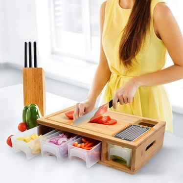 Comellow Bamboo Cutting Board with Containers, Lids, and Grater