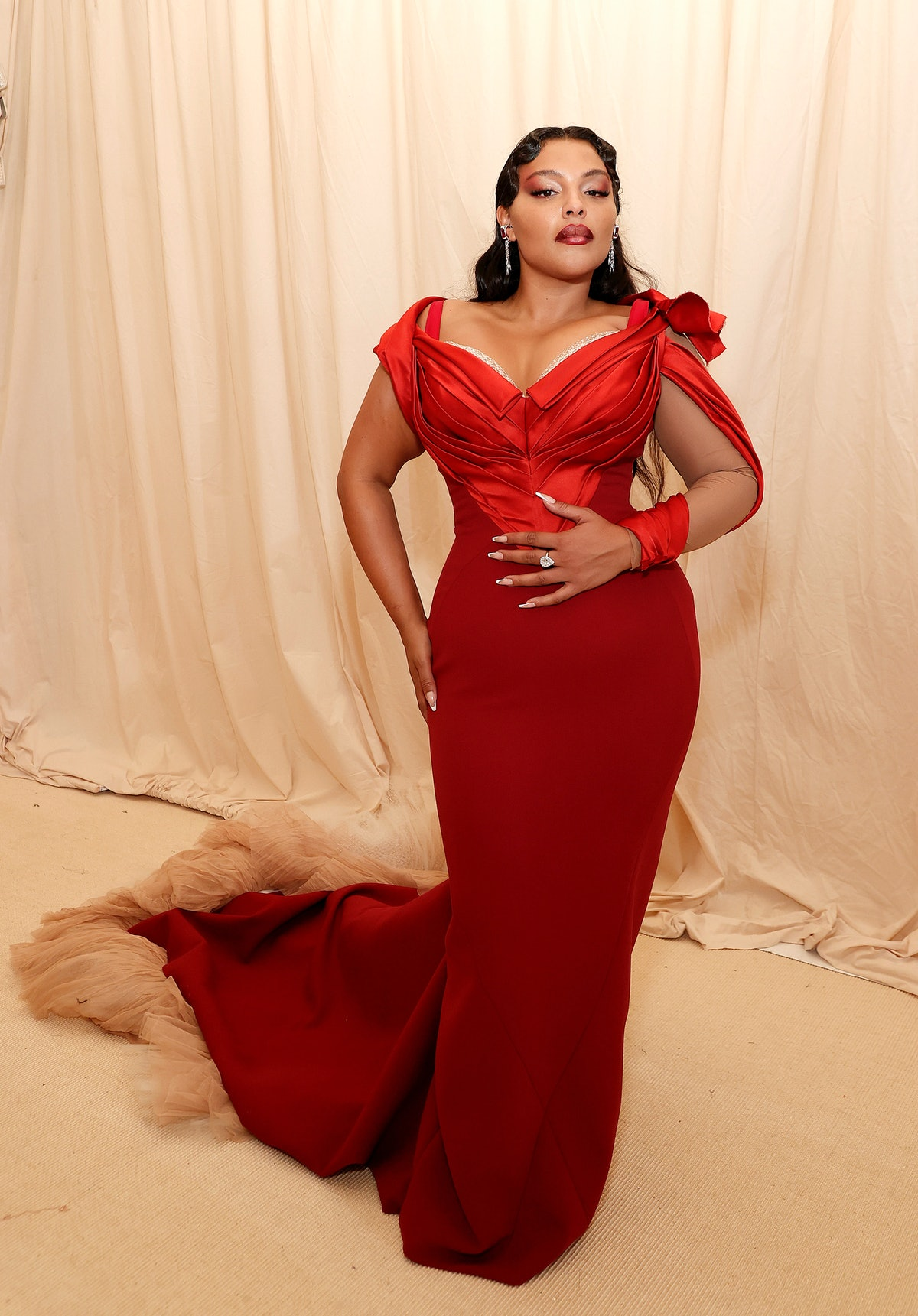 Paloma Elsesser attends The 2021 Met Gala Celebrating In America: A Lexicon Of Fashion at Metropolit...
