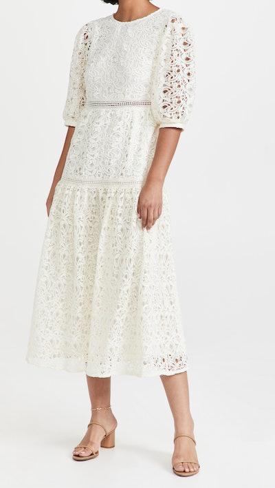 En Saison Guipure Midi Lace Dress