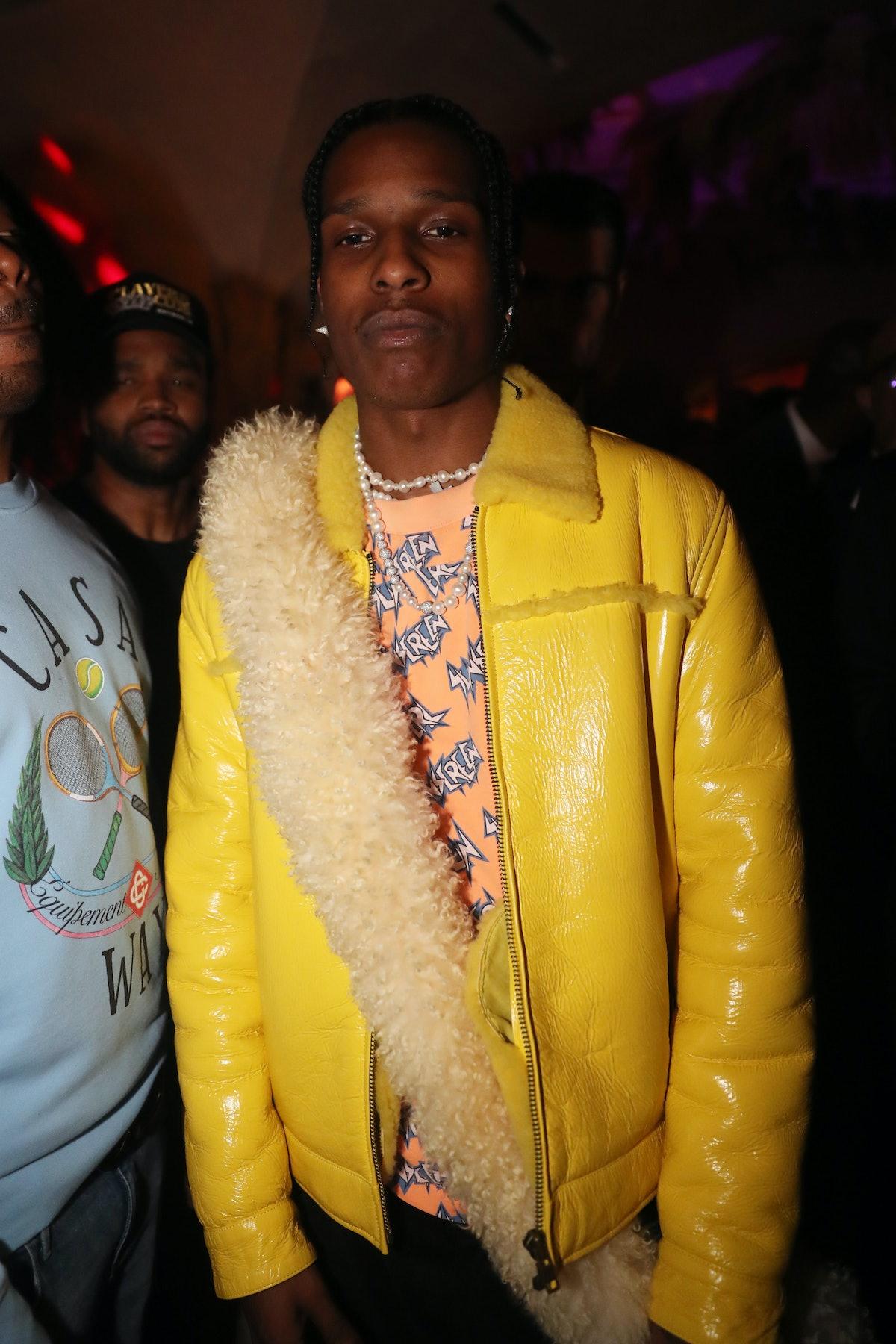 ASAP Rocky in yellow jacket.