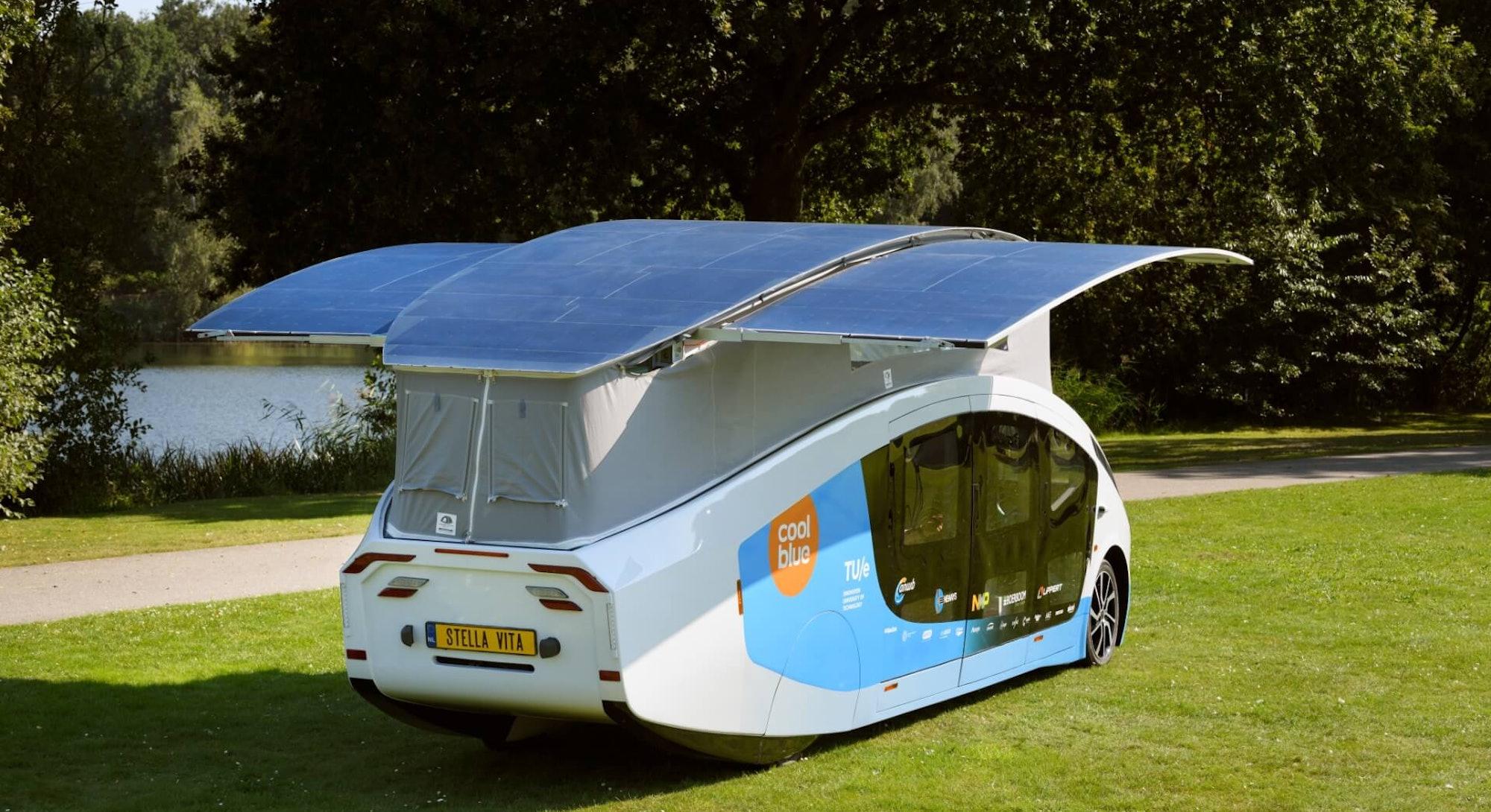 Conceptual image of the Stella Vita, an electric solar-powered RV. Electric vehicle. EV. EVs. Electr...