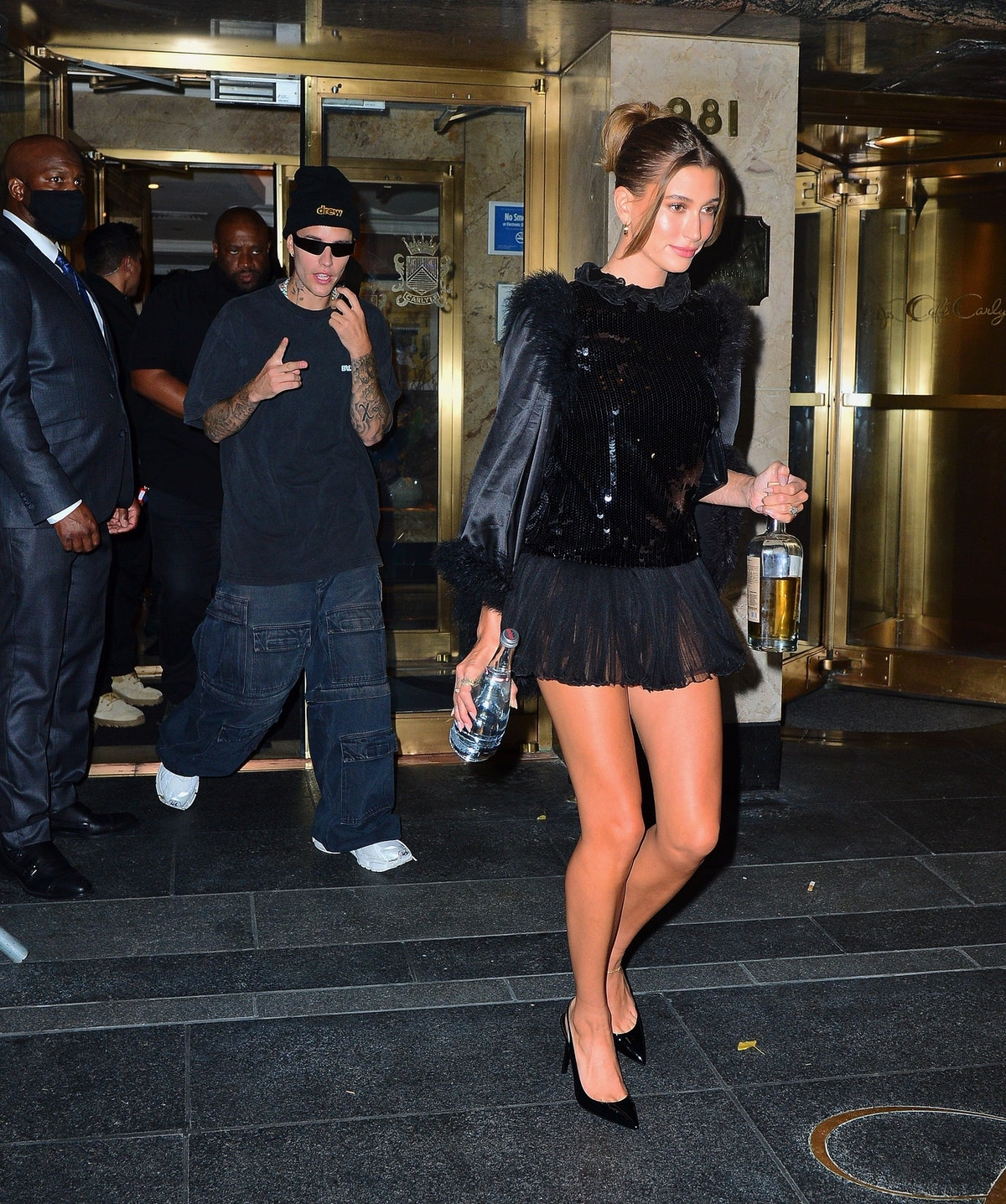 Hailey Bieber heads out to a Met Gala after-party on Sept. 13, 2021.