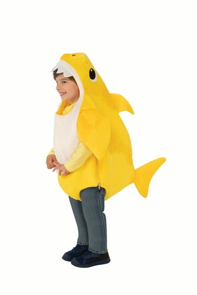 Toddler dressed in yellow Baby Shark costume