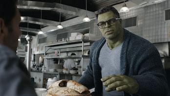 Professor Hulk at a diner in Avengers: Endgame