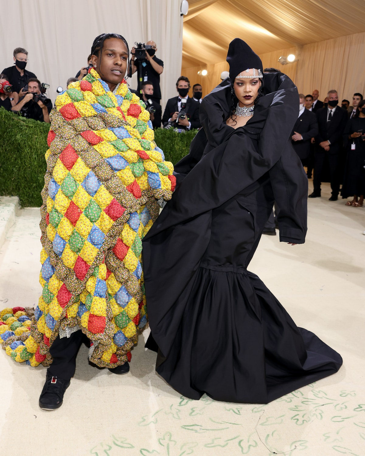 ASAP Rocky and Rihanna attend The 2021 Met Gala Celebrating In America: A Lexicon Of Fashion at Metr...
