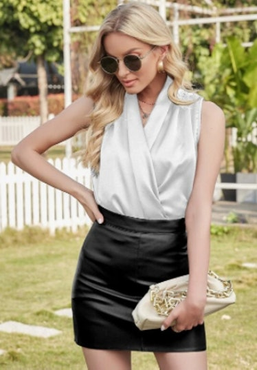 Satin Wrap Solid Blouse