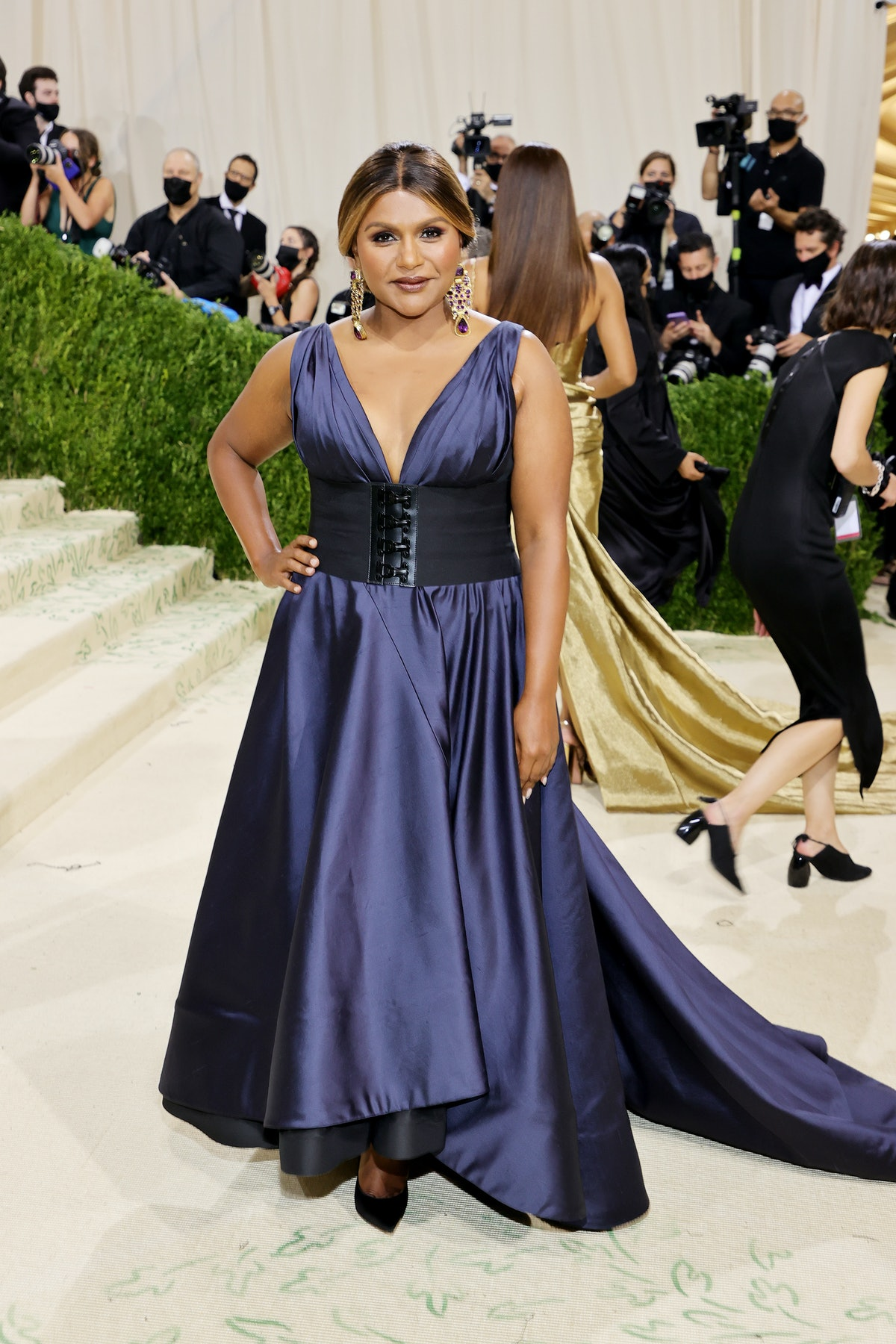 Mindy Kaling attends The 2021 Met Gala Celebrating In America: A Lexicon Of Fashion at Metropolitan ...