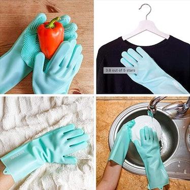 CATTOV Scrubbing Gloves and 2 Silicon Sponges