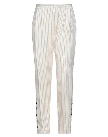 ALTUZARRA's casual pinstripe pants in beige.