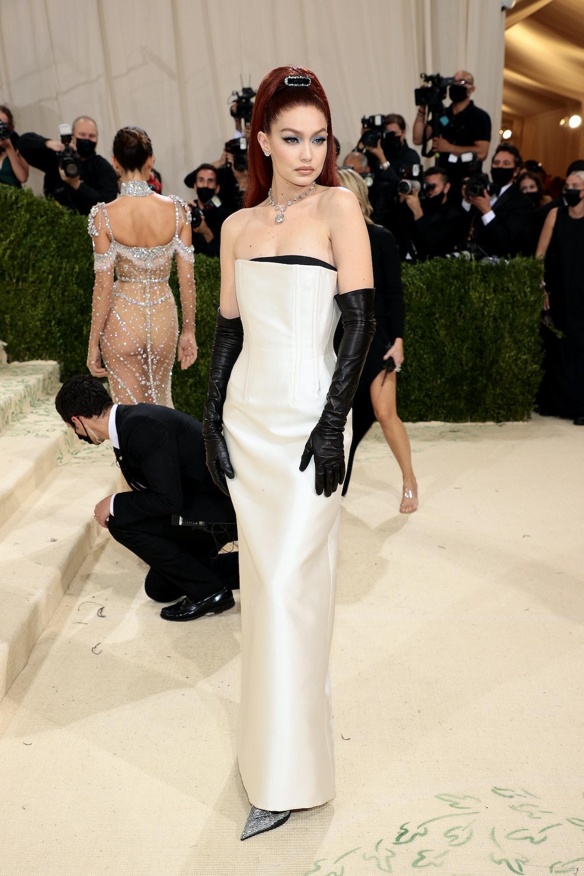 Gigi Hadid attends The 2021 Met Gala Celebrating In America: A Lexicon Of Fashion at Metropolitan Mu...