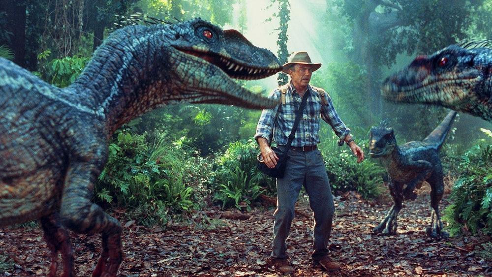 "Sam Neill with ""raptors."""