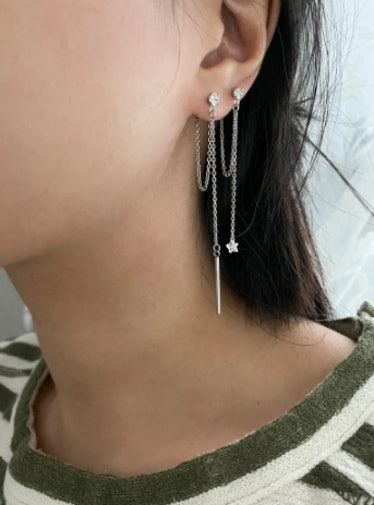 Dangle Bar and Star Drop Earrings