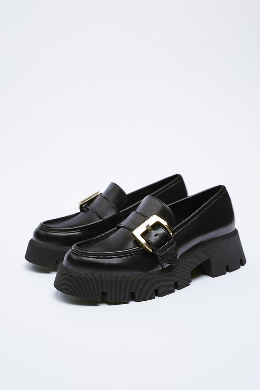 Lug Sole Buckle Loafers
