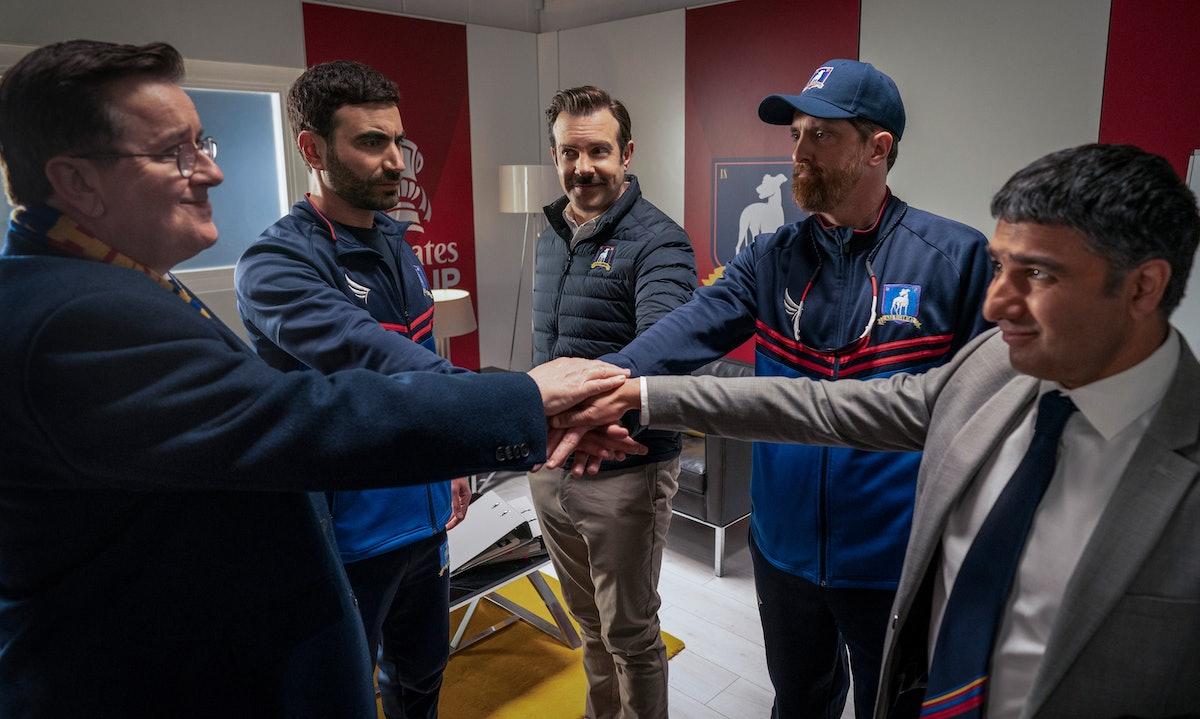 Jeremy Swift, Brett Goldstein, Jason Sudeikis, Brendan Hunt and Nick Mohammed in 'Ted Lasso' Season ...