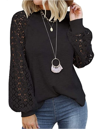 MIHOLL Long Sleeve Lace Loose Blouse