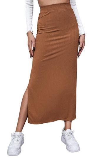 SheIn Split Thigh Rib Knit Maxi Bodycon Skirt
