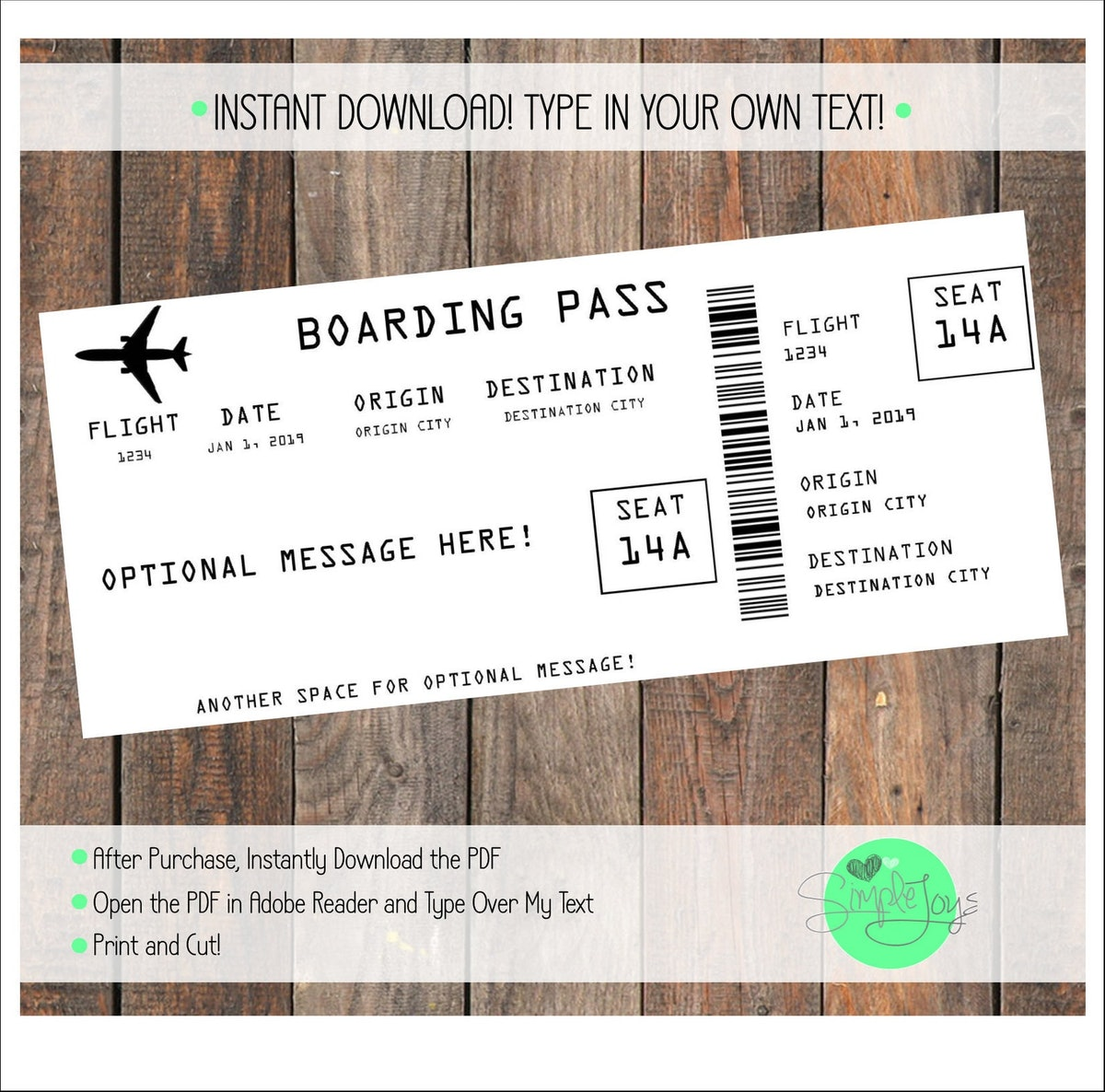 Printable Airline Ticket Boarding Pass Template