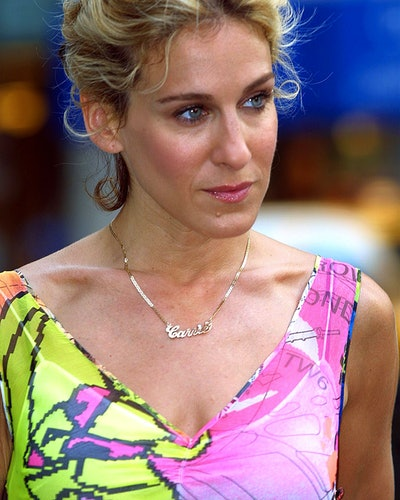 """Sarah Jessica Parker during Filming """"Sex and the City"""" on Madison Ave, August 28, 2001 at Streets of..."""